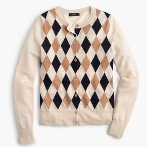 J. Crew Argyle Cardigan Sweater